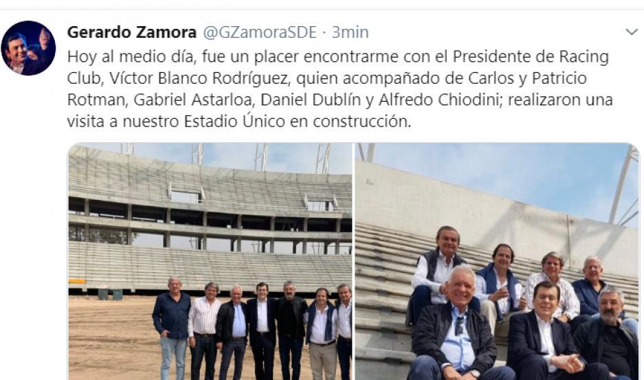 La visita al futuro Estadio Único fue presidida por el gobernador de Santiago del Estero, Dr. Gerardo Zamora, el presidente de Racing Club de Avellaneda, Víctor Blanco Rodríguez.